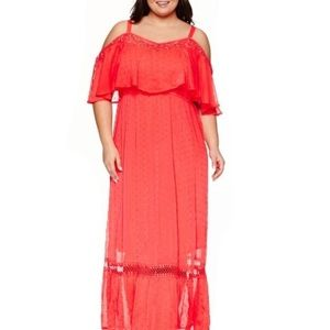 Ashley Nell Tipton Melon Swiss Dot Chiffon Dress